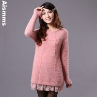 Lace patchwork mohair wool cashmere sweater dress slim basic shirt sweet gentlewomen