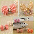 3.5MM Mini Pearl Bowknot Butterfly Iphone Accessories Cheap Earphone Headphone Jack Dust Plug MB-7