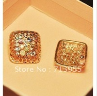 2013 Wholesale New stunning hollow grid color created diamond sparkling temperament Earrings