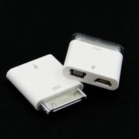 Free Shipping 10X Micro Mini USB Female to 30 pin Dock Male Data Adapter dual connector Convertor for Apple iPhone iPod iPad