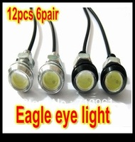 Free shipping   12PCS 6pair New High Power Pair 3W LED Larger Lens Eagle Eye White Reverse Backup Rear Tail Light Lamp