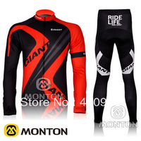 Thermal Fleece! 2 Styles! New! 2012 GIANT Team Red/Blue Winter Cycling Jersey + Long Pants-WT007 Free Shipping