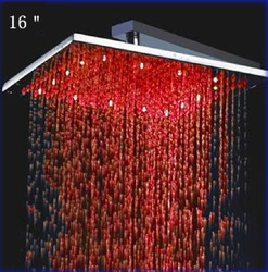 "16"" wonderful Big Stainless Steel Square LED Rain Shower Head LW-116(China (Mainland))"