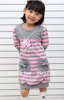 Retail Free shipping Spring New Arrival girl stripes & necklace dress,children dresses