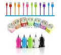 colorful 3 in 1 charger USB cable & US wall charger & car charger for iphone 5 5G free shipping