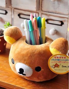 New Hot JAPANESE cartoon figure kawaii novelty stationery mobile phone accessories pencil case plush san-x rilakkuma pen holder