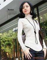The Korean version of women 's high-necked Shirt XL long sleeve T-shirt long sweater