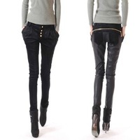 Freeshipping ,casual harem pants female skinny pants patchwork fashion tight leather pants female long trousers