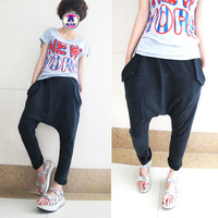 Plus size big crotch pants harem pants casual trousers loose jeans harem pants female male