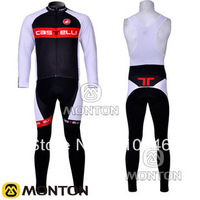 Hot! Thermal Fleece! New! castelli Team Red&Black Winter Cycling Jersey / Cycling Clothing + Long Bib Pants-TW005 Free Shipping
