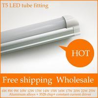 Free shipping  T5 LED Tube fitting 60 cm 2 feet  6w SMD2835 warm white/cool white AC175-285/ AC85-265V