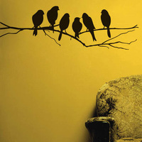 Home decoration removable Wall Decal black birds on branch Wall Stickers Vinyl stickers SJ41 home decor
