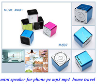 High Quality Latest Mini MD07 Music Angel Stereo Speaker Micro SD TF PSP MP3 Add FM Function Different MD06 Free Shipping