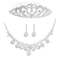 Free Shipping Cheap Bridal Jewelry Sets with Tiara Crystal Rhinestone Three Pieces Wedding Jewelry Set for Brides