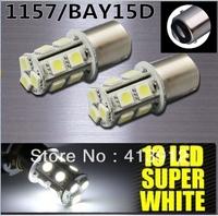 FreeEMS/DHL shipping 100pcs/lot 1157/ BAY15D 13 LED 5050 SMD DC 12v Tail BrakeTurn Signal White Light Bulb Lamp