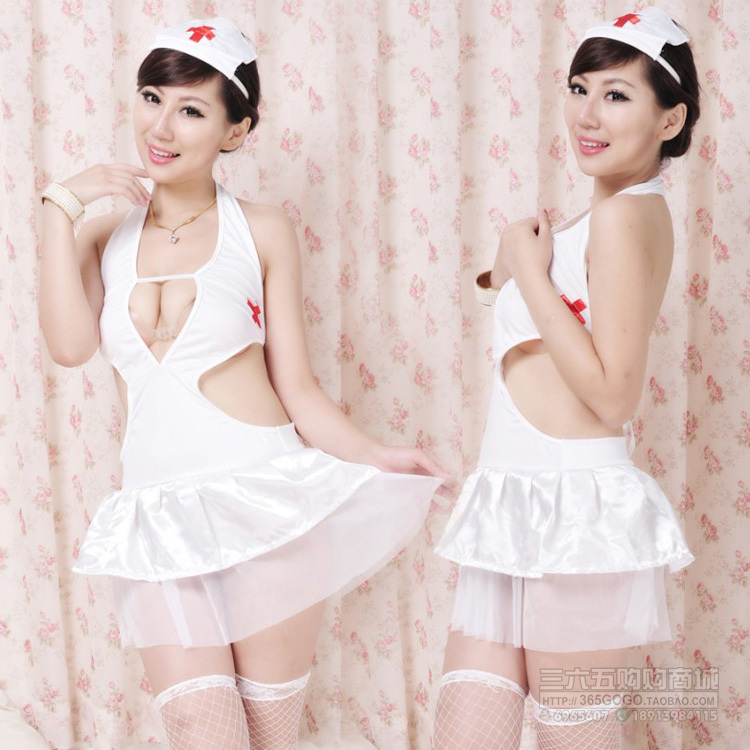 Doctor! Sexy Lingerie Dress cosplay Nurse suit Costume Fancy Dress White Costume+G-string+Hat uniform temptation(China (Mainland))