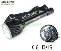Free shipping Archon D45 Dive Light 5pcs CREE XM-L U2 LED 5000 Lumens Diving Flashlight (Black)