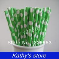 1000pcs green with white dot Valentine's Drinking Paper Straws,party straws---7488U