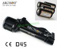 Archon D45 Dive Light 5pcs CREE XM-L U2 LED 5000 Lumens Diving Flashlight+(4 Pcs D charging 32650 battery,4 Pcs Charger)Kit