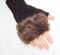 Min.order is $15 (mix order) Faux semi-finger gloves yarn knitted gloves autumn and winter thermal lucy refers to women's gloves