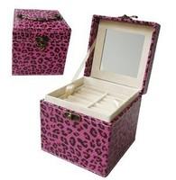 Free Shipping Hot-selling Leopard print jewelry box princess jewelry square storage box C0218