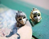 Min.order is $15 (mix order)  Fashion personalized dolls  index finger vintage female mask rings 25g