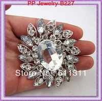 High Quality (12pcs/lot)Silver Plated Large Crystal Rhinestone Luxury Wedding Brooches!!