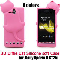 hot Diffie Cat 3D Silicone soft Case Cover For Sony Xperia U ST25i, retail package,free shipping