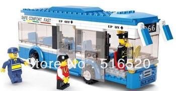 Sluban City Bus Building Block Sets 235pcs Enlighten Educational DIY Construction Bricks toys for children B0330