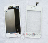 New White Touch Screen Glass Digitizer+Back Housing+Home Button For Iphone 4 4G,Free Shipping