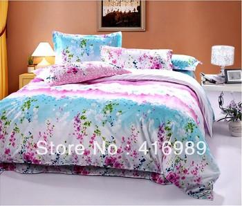 Free Shipping Super Soft Diamond Cotton Flower Wave 4pcs King/Queen Bedding Set/Bed sheet/Doona Duvet Covers LG6042
