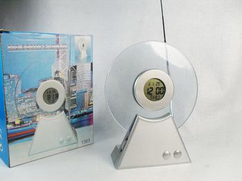 Creative Multifunctional CD shape designed fm radio receiver With speaker - thermometer alarm clock calendar EC07AC