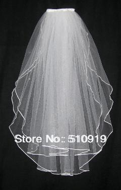 Free shipping short Two-Layer beauty Wedding Bridal Veils with Ribbon Crocheted(China (Mainland))