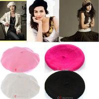 1pc New Free Ship Pink Plum White Black Causel Fashion Wool Warm Women Beret Artist Beanie Hat Cap 4Colors 261297-261300