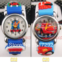 2Pcs New Little blue train and a blue car  Children's watch Xmas gift C02/C20