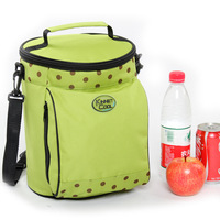 Apple green Large Cylindrical cooler lunch bags with Coffee dots  Lovely fashion Oxford cloth picnic bags for Traveling