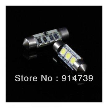 Free shipping 10pcs white 36mm 3SMD Canbus 3 SMD 5050 LED Car Auto Light Bulbs License Plate Light LED Festoon Bulbs