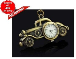 Bronze VINTAGE LOOK CAR Necklace Pocket Watch / Pendant Key Chain & chain(China (Mainland))
