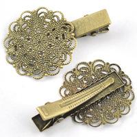 50pcs retro Antique Bronze DIY Flower Bobby Pin,Wholesale Vintage Woman Girl Hair Clip Barrette Hair Grip Findings Jewelry
