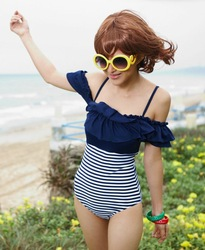 Triangle one piece navy stripe sexy color block swimwear draw g562 printing(China (Mainland))
