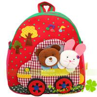 Canvas satchel kindergarten school bag cartoon child backpack stereo handmade bag