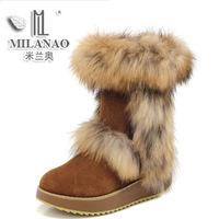 Free Shipping 2013 winter knee-high genuine leather platform snow boots wedges platform rollaround boots fox fur