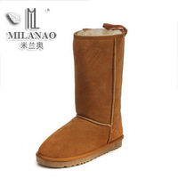 Free Shipping 2013 winter genuine leather gaotong snow boots female cow muscle outsole bandage flatbottomed boots