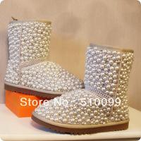 2013 Fashion Women Brand Winter Beige Genuine Leather Snow Boots Rhinestone Pearl Flats Shoes 5825