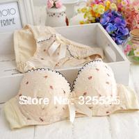 free shipping Ruffle shoulder strap chiffon small 3 breasted bra set bra young girl underwear set Close-fitting comfortable