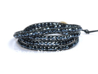 Leather Wrap Bracelets, Fashion Handmade Leather Bracelet 4 Wrap Bracelet 6mm Austria Cystal Beads Leather Wrap Bracelets CL021