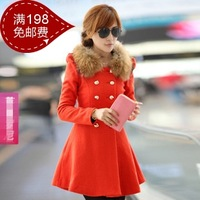 Женская одежда из шерсти women woolen long overcoat high quality fashion lady outerwear white red green orange M, L, XL, XXL