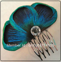 free shipping Bridal Peacock Facinator,Wedding Hair  Peacock Hair Accessories, Blue Peacock Feather Hair Comb