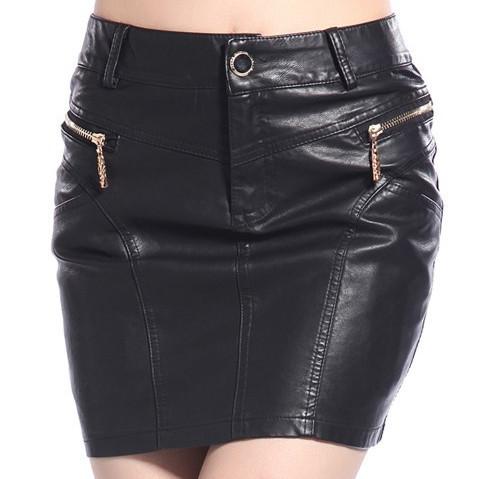 fashion pu leather skirt plus size cheap zipper back