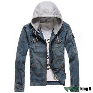 TBO230 high quality fashion men denim jacket hooded jean jacket slim fit clothes denim coat jacket